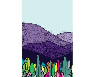 Nature Print, Nature Illustration, Landscape, Trees, Mountains, Abstract, Fun, Colorful