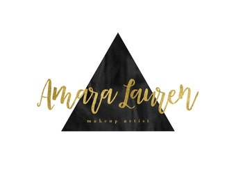 Black Triangle Logo / Gold Geometric Logo / Photography Logo / Makeup Artist Logo / Gold Logo / Gold Blog Logo Header / Clothing Logo Shop