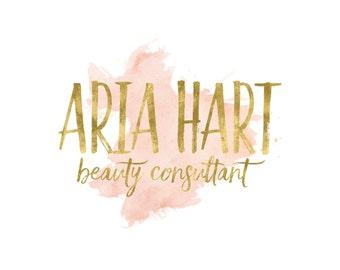 Gold Makeup Artist Logo / Beauty Logo / Watercolor Logo / Blush Logo / Gold Logo / Photography Logo and Watermarks / Gold and Blush Logo