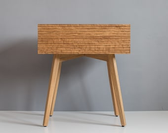Scandinavian folk mid century nightstand with hand carved drawer front