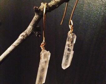 Crystal Quartz Earrings, Crystal Quartz Jewelery, Crystal Earrings, Quartz Jewelery, Healing Jewelry, Healing Crystal Jewelry