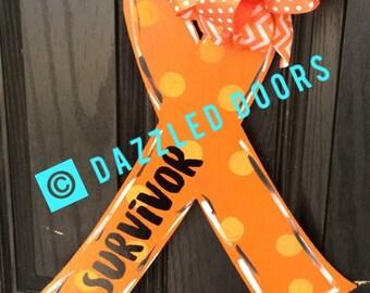 Breast Cancer Awareness Door Hanger. Cancer Awareness. Wooden Door Hanger. Awareness Ribbon. October. Fight Like A Girl. Cancer Survivor
