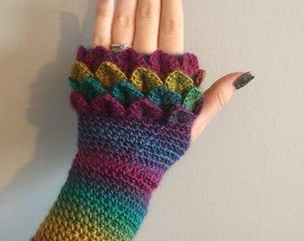 Rainbow crochet dragon scale gloves, wrist warmers/ arm warmers/ fingerless gloves