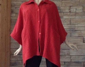 Red poncho,80s cape ,spring coat,out door cover up