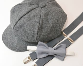 Bow Tie Suspenders Newsboy Cap Hat  / Medium Gray Bow Tie / Charcoal Gray Suspenders / Kids Baby Page Boy Outfit Set / size 8mon  - 10 Years