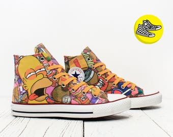 Homer Simpson custom made converse shoes burger and Duff sneakers