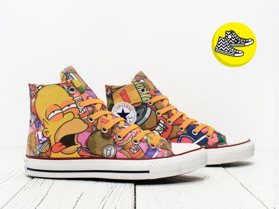 f2c901a3c0a4 Homer Simpson custom made converse shoes burger and Duff 60%OFF ...