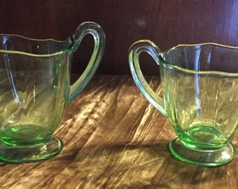 Vintage green sugar and creamer set