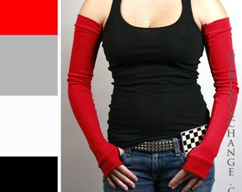 TRIXY XCHANGE Long Red Cotton Arm Warmers Cotton Fingerless Gloves Red Opera Gloves Driving Red Arm Sleeves Fibromyalgia Scar Arm Covers Diy