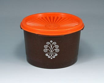 Vintage Tupperware, Storage Container, 1297-11, Brown and Orange, Sunburst Lid, Glamping, Cottage Chic, Gift for Her, Gift for Mom, Birthday