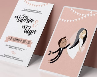 Wedding Invitation / Custom Wedding Invitation / Wedding portrait / Couple Illustration / Couple art / Couple Draw