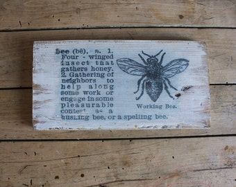 Vintage Bee Sign Set Of 2 Signs Bee Decor Rustic Decor