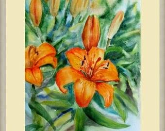 Watercolor Lily Original watercolor  Orange Lilies Painting Wall Art Original Painting flowers Unique Aquarelle Art