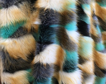 Multi Color Shaggy Faux Fur Fabric By The Yard Long Pile