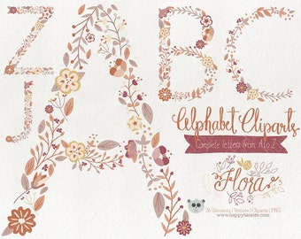 Flowers Clipart 80% OFF! - Alphabet Clipart Letters Vector Graphics Clip Art PNG Flowers Floral 03 Earth Tones Brown Tan