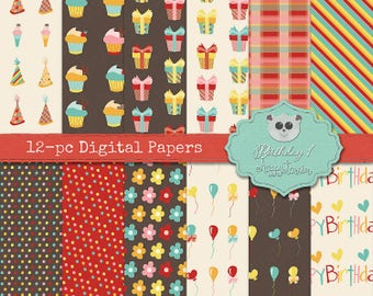 80% OFF! - Digital Papers Birthday 1 Party Greeting