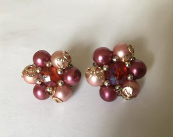 Wonderful Vintage 70's Pink, Purple and White Faux Pearls Clip On Earrings Marked Japan