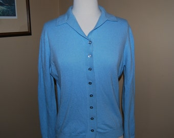 Cashmere Woman's Light Blue Collared Cardigan Sweater