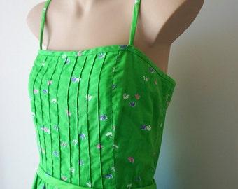 Apple Green 1970s Day Dress | Ballerina Print | Malia Honolulu