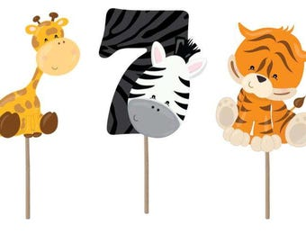 Cupcake Topper, Zoo cupcake toppers, Zoo party, Zoo birthday, Zoo decorations, Zoo animals, zoo theme, zoo 7th birthday, party supplies