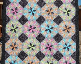 Vibrant Start quilt;Bright throw; bright lap quilt; pink, green, blue,orange lap quilt; paisley star quilt