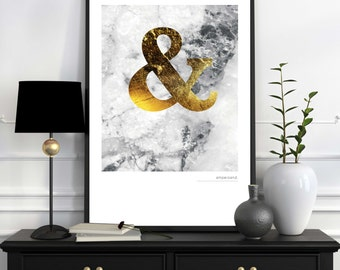 Marble Ampersand Print, Marble, Typography, Wall Art, Marble Print, Design, Wall Decor, Trend, Black and White