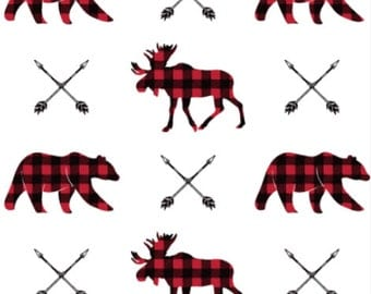 Moose Bear and Arrow in Plaid Fabric by littlearrowdesigncompany