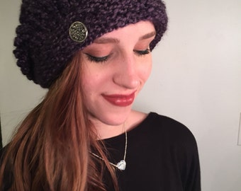 Purple beanie with button