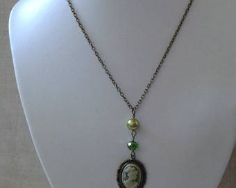 Green cameo necklace