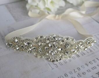 Satin and Rhinestone headband, Rhinestone Headband, Wedding Headband, Crystal Headband, Wedding Headpiece, blush headband