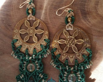 Hand Curved Metal and Macrame Earrings