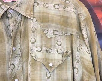 """Vintage 1950's Levis """"Horseshoe & Dice"""" Cotton Rockabilly Shirt"""