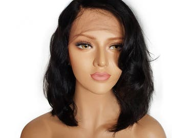 Short Glueless Lace Front Human Hair Wigs With Baby Hair Brazilian Remy Wavy Bob Wigs Bleached Knots