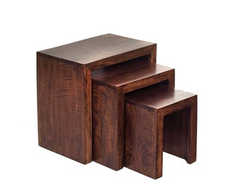Toko mango 3 nest of tables - Solid hardwood - Dark walnut finish