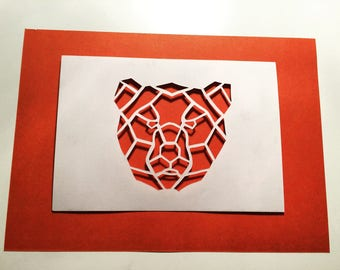 Geometric bear face papercut