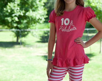10th Birthday girl outfit, tenth birthday outfit ruffle pants and shirt, 10th birthday shirt