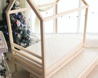 TWIN SIZE house bed, tent bed, wooden house, wood house, wood nursery, teepee bed, wood house bed, wood bed frame, kids bedroom