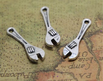 30pcs Wrench Charms Silver tone Lovely Wrench Charm Pendant Tool 7x24mm ASD742