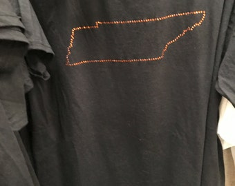 tn state outline in rhinestone