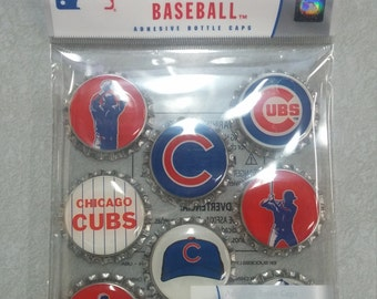 Chicago Cubs Adhesive Bottle Caps for Scrapbooking or Altered Art