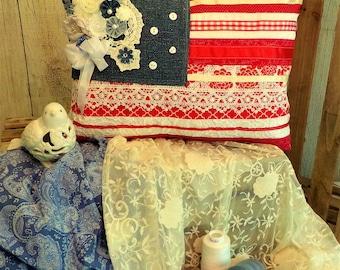 Shabby Chic Americana Inspired Pillow