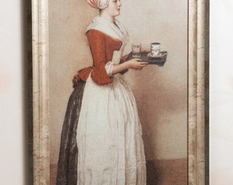 """painting """"the chocolate girl"""", handmade embroidery, embroidered home decor, exclusive gift"""