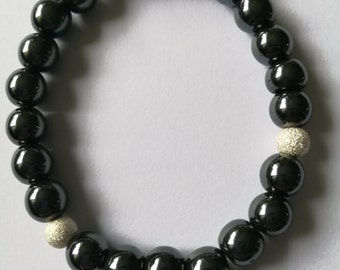 Haematite bracelet with silver accents