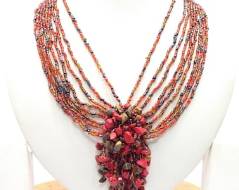 Coral & Tiger Eye stone beaded necklace