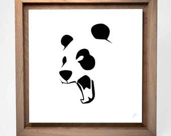 Panda Minimal | 12 x 12 Square | Pop Minimalist | Mounted Fine Art Print