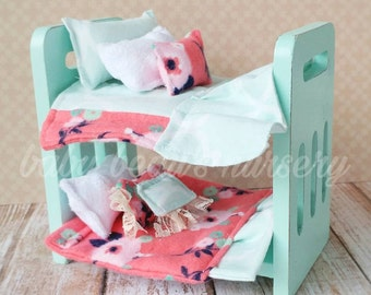 Bunk bed dollhouse furniture, miniature bunk bed, floral doll bedding, miniature bedding, miniature pillows, doll bunk bed, mini toy bed
