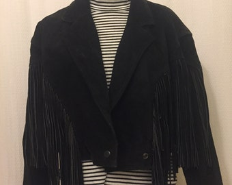 Amazing Black Suede Fringe jacket