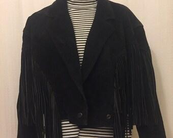 Amazing Black Suede Fringe jacket