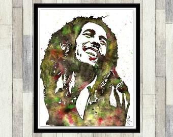 Bob Marley Painting, Original Watercolour Painting, Wall Art, Men's Gift, Women's Gift, Pop Art, Wall Art, Wall Decor