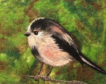 Long tailed tit - FRAMED felt painting